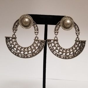 Brass Half Moon Clip On Earrings